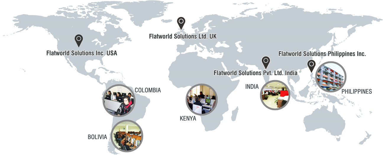Flatworld Solution's Global Offices and Delivery Centers