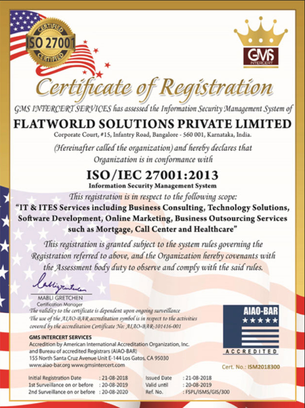 Flatworld Solutions Receives ISO/IEC Certification